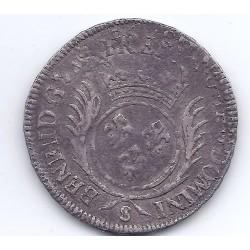 LOUIS XIV DEMI ECU AUX PALMES 1696 S REIMS