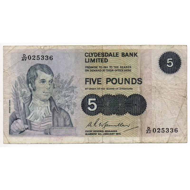 ECOSSE 5 Pounds 6 Jan 1975 Pick 205C