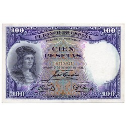 ESPAGNE 100 Pesetas 25 Apr 1931 Pick 83