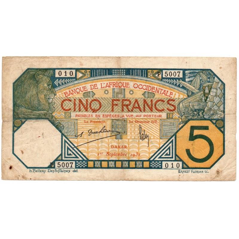 Banque de l' Afrique Occidentale 5 Francs 1 Sep 1932 Pick 5Bf