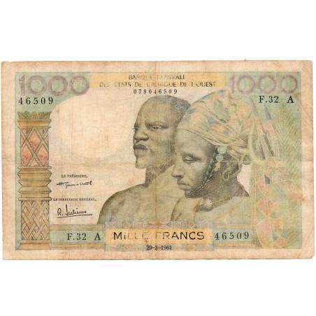 Etats de l'Afrique de l'Ouest / Côte d'Ivoire 1000 Francs 1961  Pick 103Ab