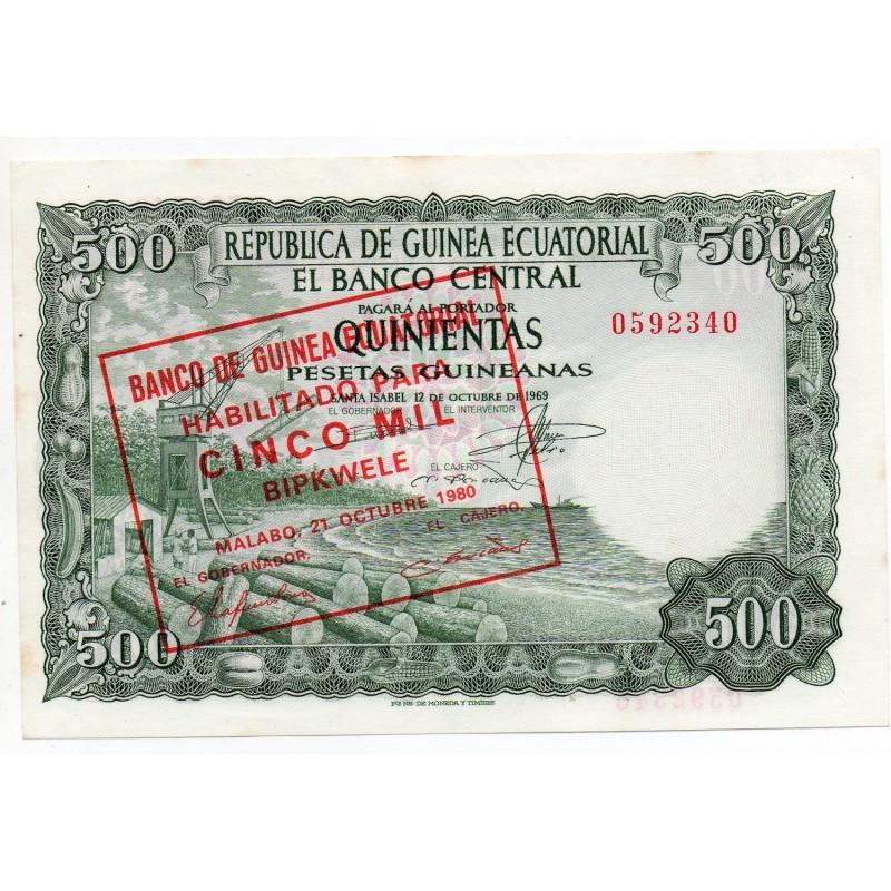 Guinée Équatoriale 5000 Bipkwele/500 Pesetas octobre 1980 Pick 19