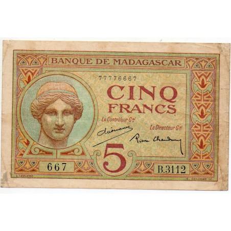 Madagascar 5 Francs 1937 Pick 35