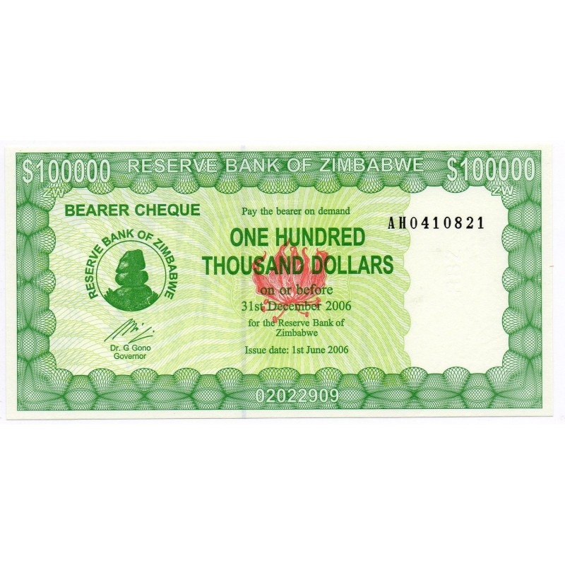 Zimbabwe 100000 Dollars 31 Dec 2006 Pick 26