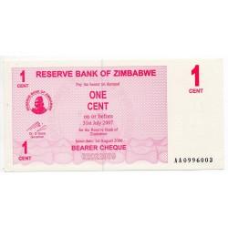 Zimbabwe 1 Cent 31 Jul 2007 Pick 33