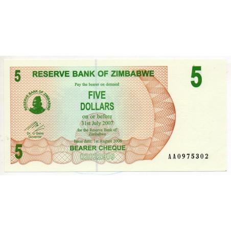 Zimbabwe 5 Dollars 31 Jul 2007 Pick 38