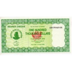 Zimbabwe 100000 Dollars 31 Dec 2006 Pick 32