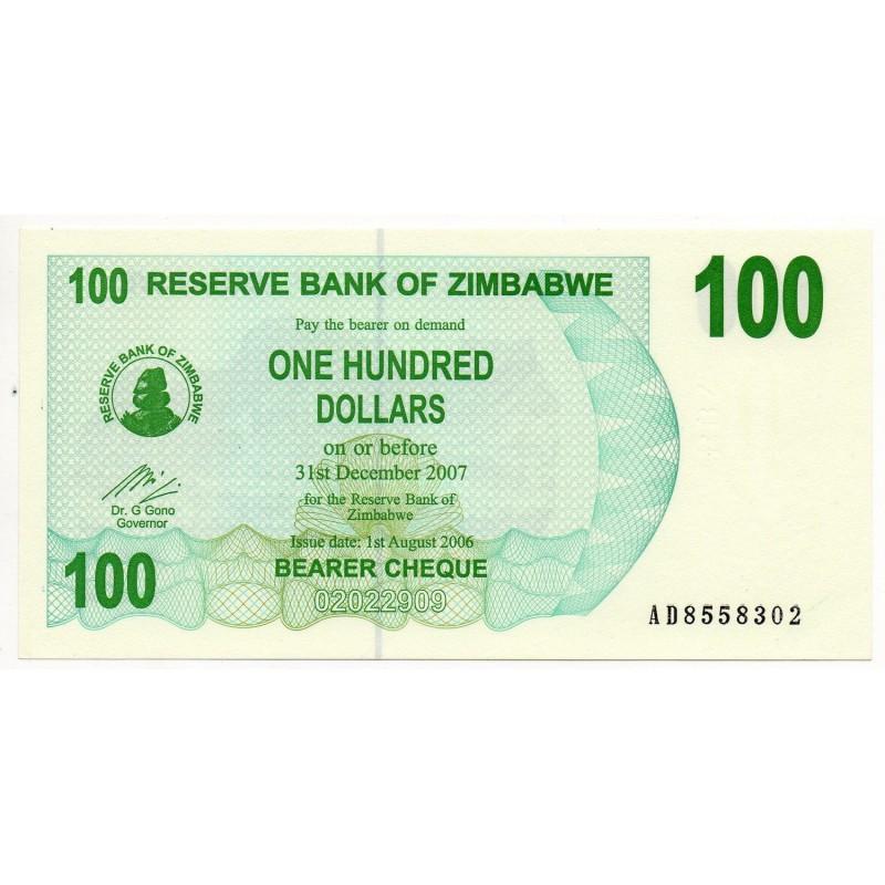 Zimbabwe 100 Dollars 31 Dec 2007 Pick 42