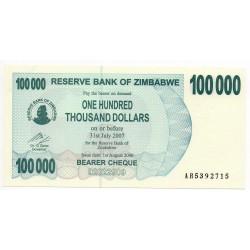 Zimbabwe 100000 Dollars 31 Jul 2007 Pick 48