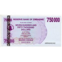 Zimbabwe 750000 Dollars 30 Jun 2008 Pick 52