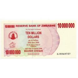 Zimbabwe 10 Million Dollars 30 Jun 2008 Pick 55