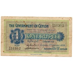 CEYLON 1 RUPEE 2 oct. 1939 TB Pick 16b