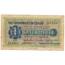 Ceylan1 Rupee 2 oct. 1939 Pick 16b