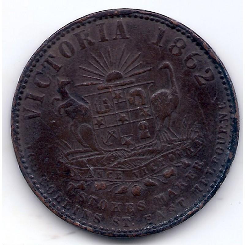 AUSTRALIE PENNY THOMAS H.COPE MELBOURNE 1862 Pick KM Tn38