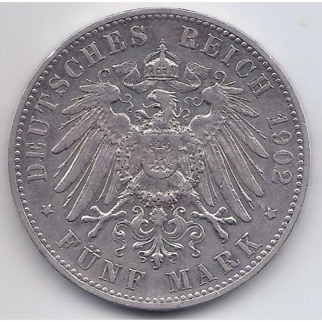 ALLEMAGNE 1902 GERMAN - WERTTEMBERG- 5 MARK