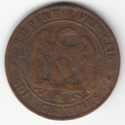 10 CENTIMES NAPOLEON III, TETE NUE 1856 B TB DV10C003