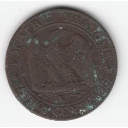 5 CENTIMES NAPOLEON III, TETE NUE 1854 K TB 5C0018