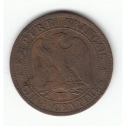 5 CENTIMES NAPOLEON III, TETE NUE 1853 W TB+ DV5C0013