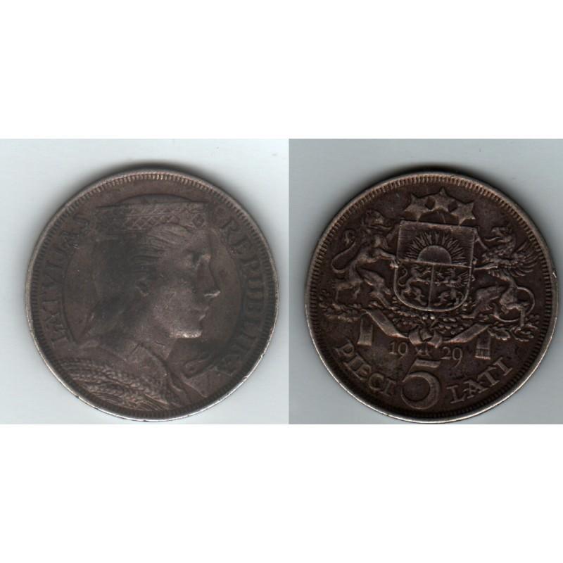 LETTONIE LATVIA DIECI 5 LATI ARGENT 1929