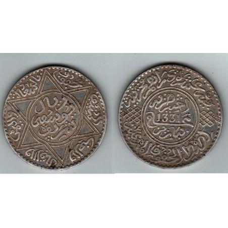 MAROC  ,  MOULAY  YUSSEF I ,  5  DIRHAMS 1331, 1913