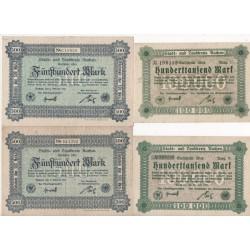 NOTGELD - AACHEN - 4 different notes - 1923 (A003)