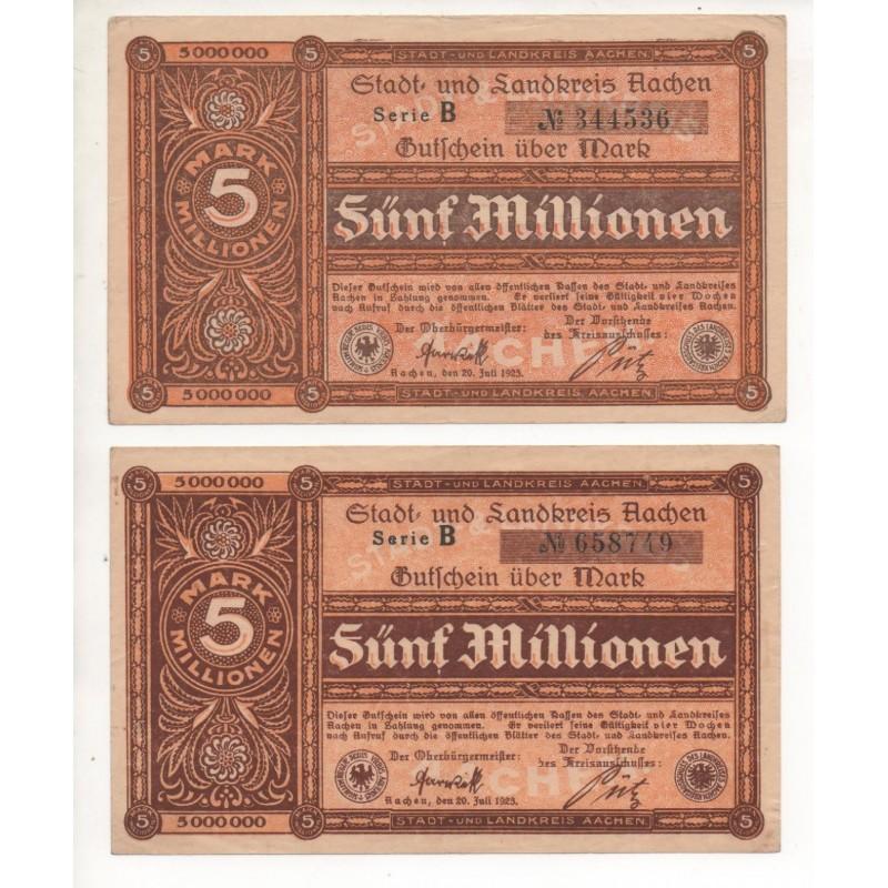 NOTGELD - AACHEN - 2 different notes - 5 millionen (A007)