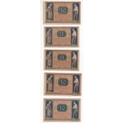 NOTGELD - ACHIN - 5 different notes - VARIANTE color - 5 et 6 numbers - 1921 (A012)