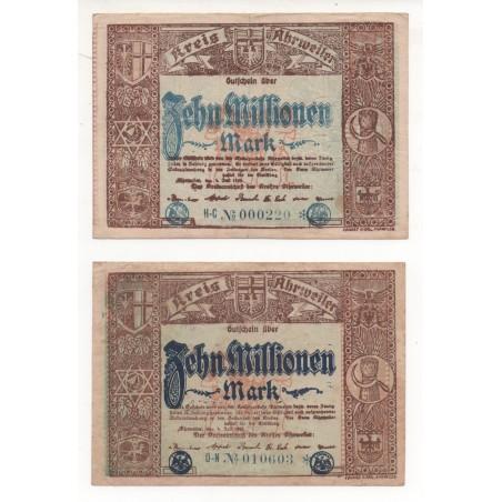 NOTGELD - AHRWEILER - 2 notes 10 millionen - little number - color - 1923 (A021)