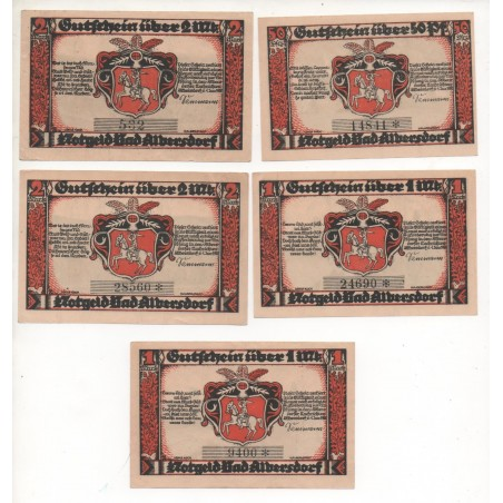 NOTGELD - ALBERSDORF - 5 different notes - 4 numbers - number 532 (A023)