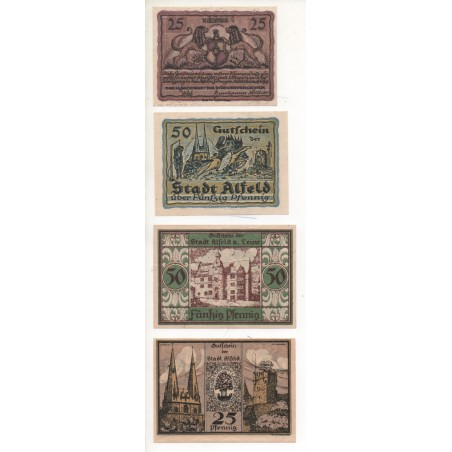 NOTGELD - ALFED - 4 different notes - 25 & 50 pfennig (A024)
