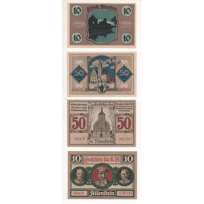 NOTGELD - ALLENSTEIN - 4 different notes - 3 little numbers - 10 & 50 pfennig (A026)