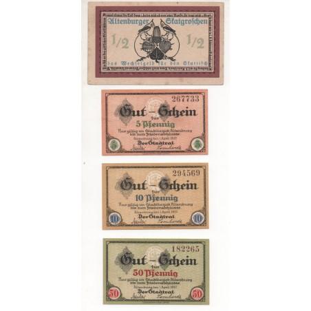 NOTGELD - ALTENBURG - 4 different notes - 1/2 & 5 & 10 & 50 pfennig - 1917 (A032)