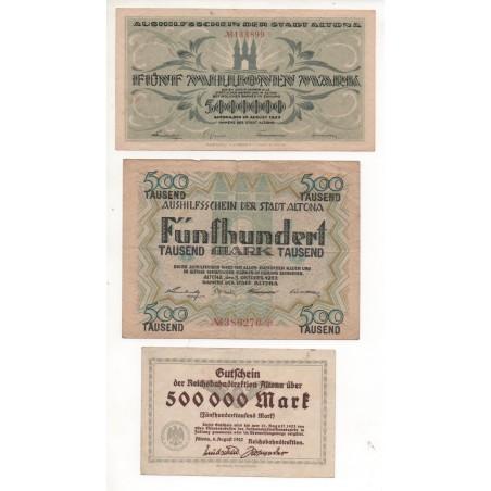 NOTGELD - ALTONA - 3 different notes 500.000 & 5 millionen & 500 mark (A038)