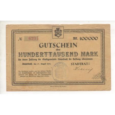 NOTGELD - AMORBACH - 100.000 mark - 1923 (A046)