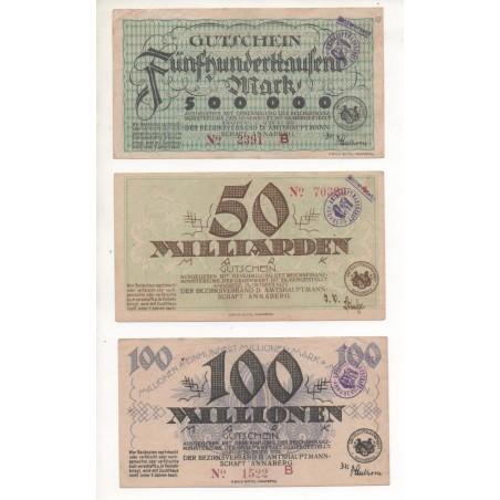 NOTGELD - ANNABERG - 3 different notes - 1923 (A048)