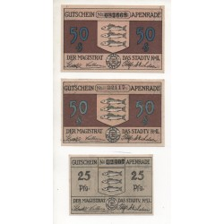NOTGELD - APENRADE - 3 different notes - 25 & 50 pfennig - 1921 (A056)