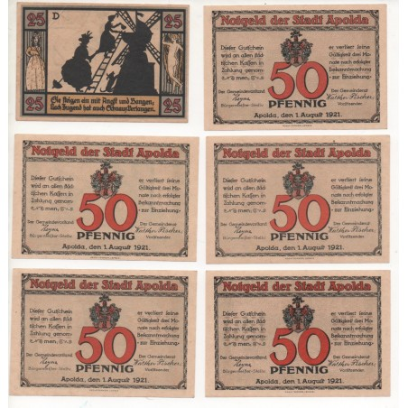 NOTGELD - APOLDA - 6 different notes - 1921 (A057)