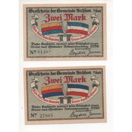 NOTGELD - ARCHSUM - 2 different notes 2 mark - 1921 (A059)