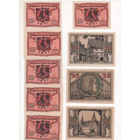 NOTGELD - ARNSTADT - 3 series of 6 (18 different notes) 10 & 25 & 50 pfennig - 1921 (A061)