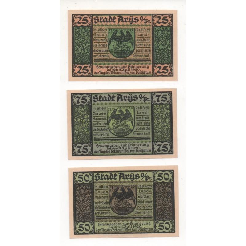 NOTGELD - ARYS - 3 different notes - 25 & 50 & 75 pfennig - 1920 (A066)