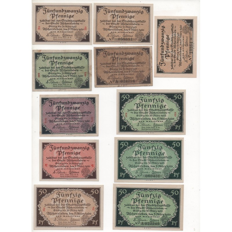 NOTGELD - ASCHERSLEBEN - 11 different notes - 25 & 50 pfennig with & without numbers - 1920 (A071)