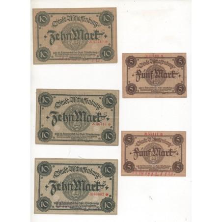 NOTGELD - ASCHAFFENBURG - 7 different notes 5 & 10 & 20 mark - 2 series - 1918 (A073)