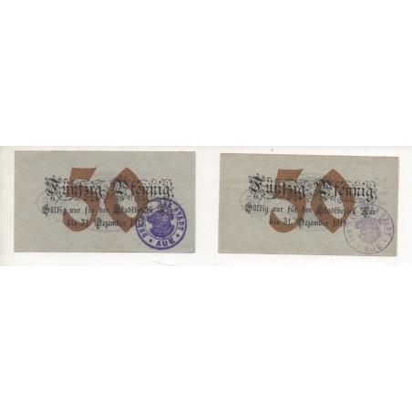 NOTGELD - AUE - 2 different notes - 50 pfennig - 1918 (A074)