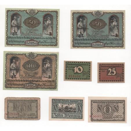 NOTGELD - AUERBACH - 8 different notes - 10 & 25 & 50 pfennig - 1918 (A076)