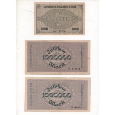 NOTGELD - AUERBACH - 3 different notes 500.000 & 1.000.000 mark - 1923 (A077)