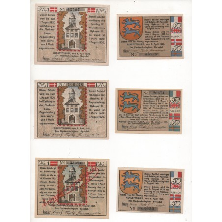 NOTGELD - AUGUSTENBURG - 6 different notes - small numbers - 1920-1921 (A078)
