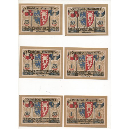 NOTGELD - AVENTOFT - 6 different notes - VARIANTE drapeau Color - 1921 (A083)