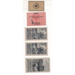NOTGELD - DARMSTADT - 5 different notes 5 & 10 & 25 & 50 pfennig (D005)