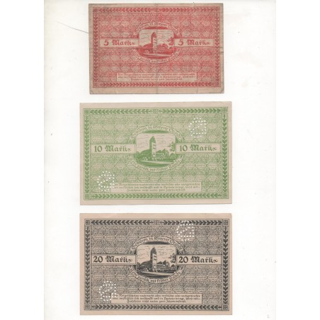 NOTGELD - DARMSTADT - 3 different notes - 5 & 10 & 20 mark (D006)