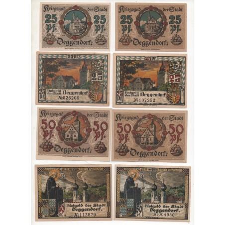 NOTGELD - DEGGENDORF - 8 different 25 & 50 pfennig - VARIANTE (D007)